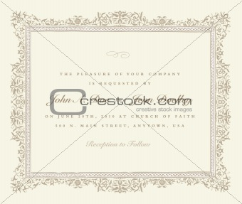 Vector Beige Ornate Frame