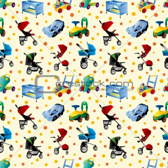 baby carriage seamless pattern