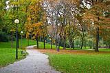 Zagreb autumn park walkway, Croatia