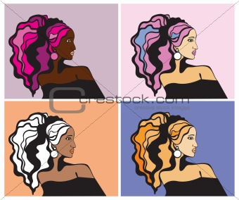 Colorful woman  hairstyle.