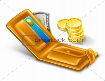 Wallet with dollar and coins.