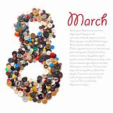 8 March symbol - character &quot;eight&quot; made of buttons