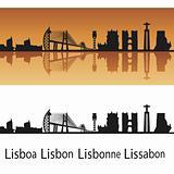 Lisbon skyline in orange background