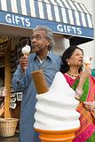 Indian couple having ice cream