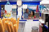 Couple at ice cream kiosk