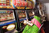 Woman in an amusement arcade