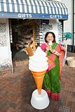Indian woman with ice cream