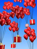 presents on balloons