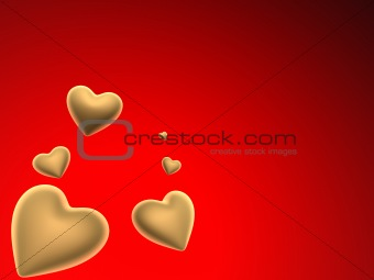 flying golden hearts