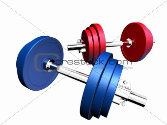 blue and red barbell