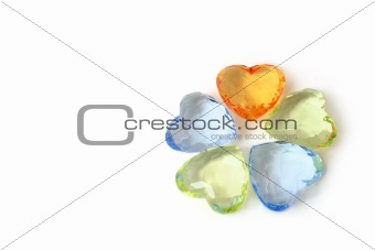 Colour hearts / white background