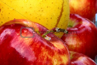 yellow and red apple
