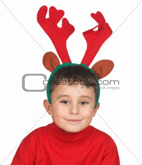 Boy with moose antlers