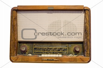 old radio isolated in white