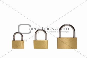 Three different padlocks isolated