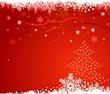 red christmas background with christmas tree and snowflakes / ve
