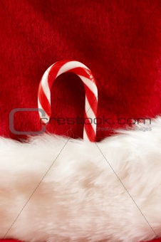candy cane in stocking