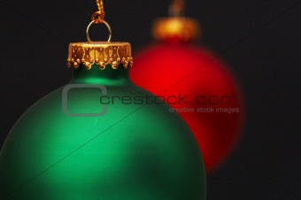 two christmas bulbs
