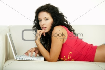 Brunette with laptop