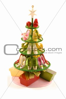 A modern christmas tree with shoes