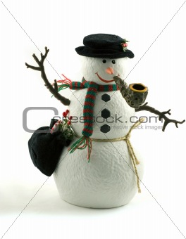 A cute snowman decoration smoking a pipe