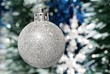 Christmas decoration - silver ball and tinsel