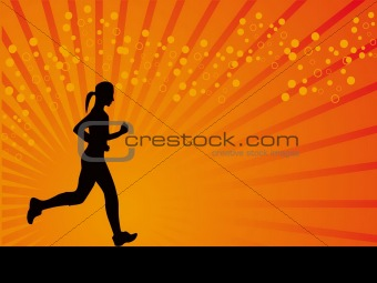 Athletic girl vector background