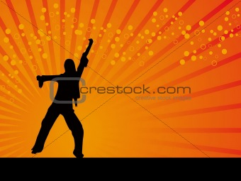 Black dancing girl vector orange background