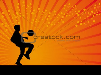 Black defender footballer vector orange background