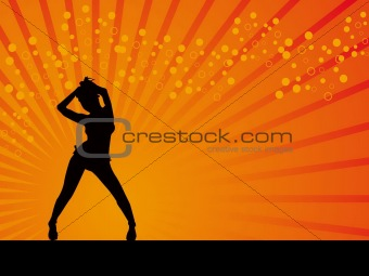 Black girl in disco dancing pose vector background