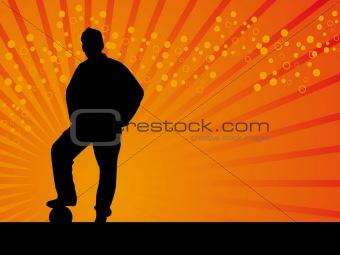 Black man footballer vector background