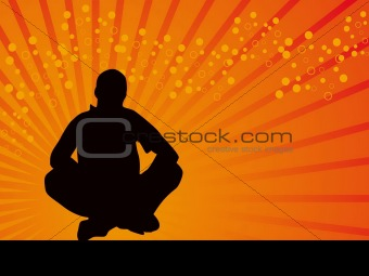 Black man sitting style vector orange background