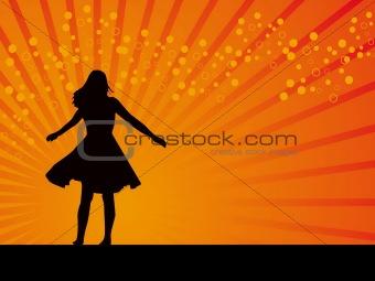 Black Swing dancer vector orange background