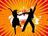 Dancing couple vectorial illustration orange background