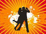Dancing couple vectorial illustration