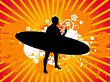 Flying skirt dancing girl vectorial illustration