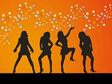 Group dancer vector orange background