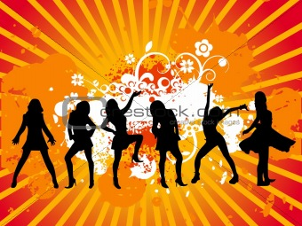 group dancing vector illustration