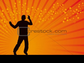 Man on the karate pose vector background