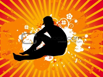 Man sitting style vector illustration