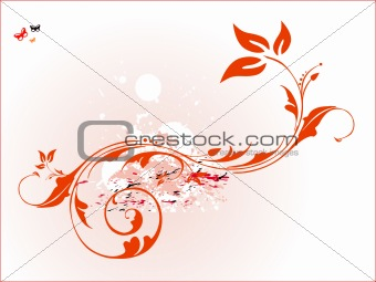 vector orange floral illustration background