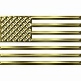 3D Golden USA Flag