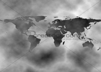 Surreal map showing pollution over earth