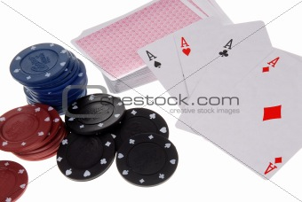 Cards and casino chips