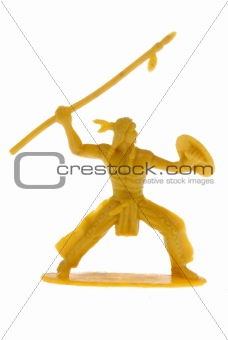 American Indian warrior throwing a spear