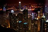 Hong Kong Skyline from the Peak at Night