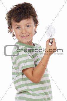 boy holding bulb
