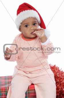 Baby girl with santa hat