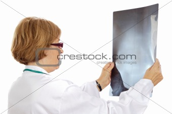 Doctor analyzing a radiography