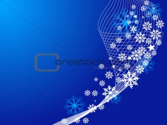 Blue Christmas illustration background with snowflakes
